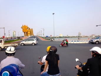In Da Nang, the sky was blue, the air was fresh, the dragon bridge imposing.
